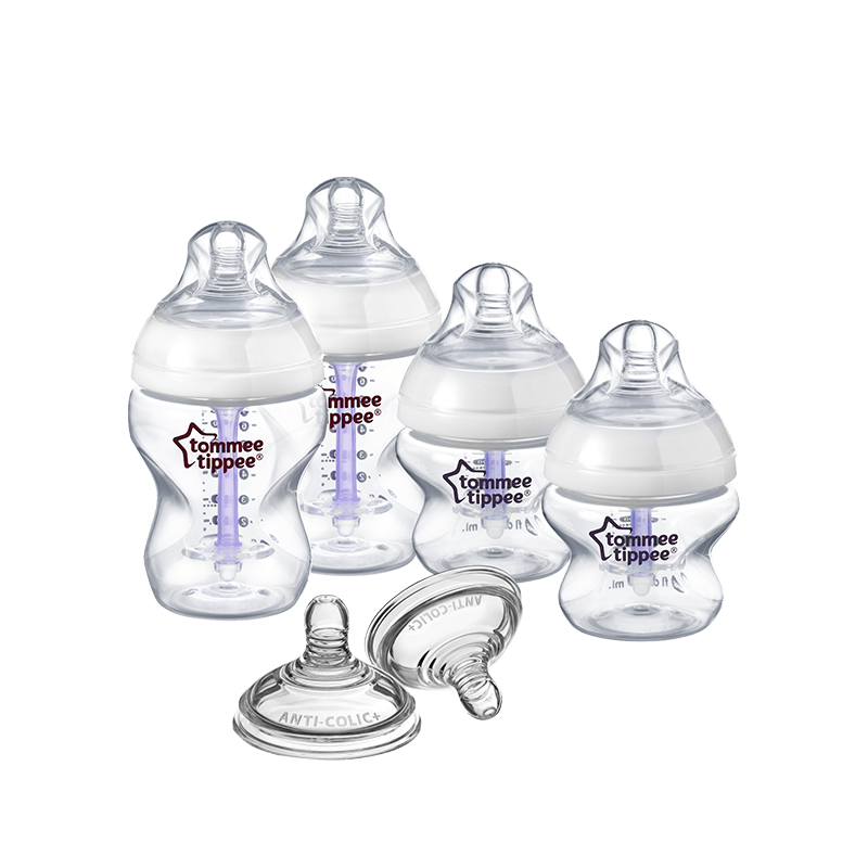 Tommee Tippee Advanced Comfort Bottle Kit, two 260ml anti colic baby bottles, two 150ml anti colic baby bottles, two baby teets