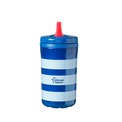 Blue stripe Insulating Free Flow bottle with red straw