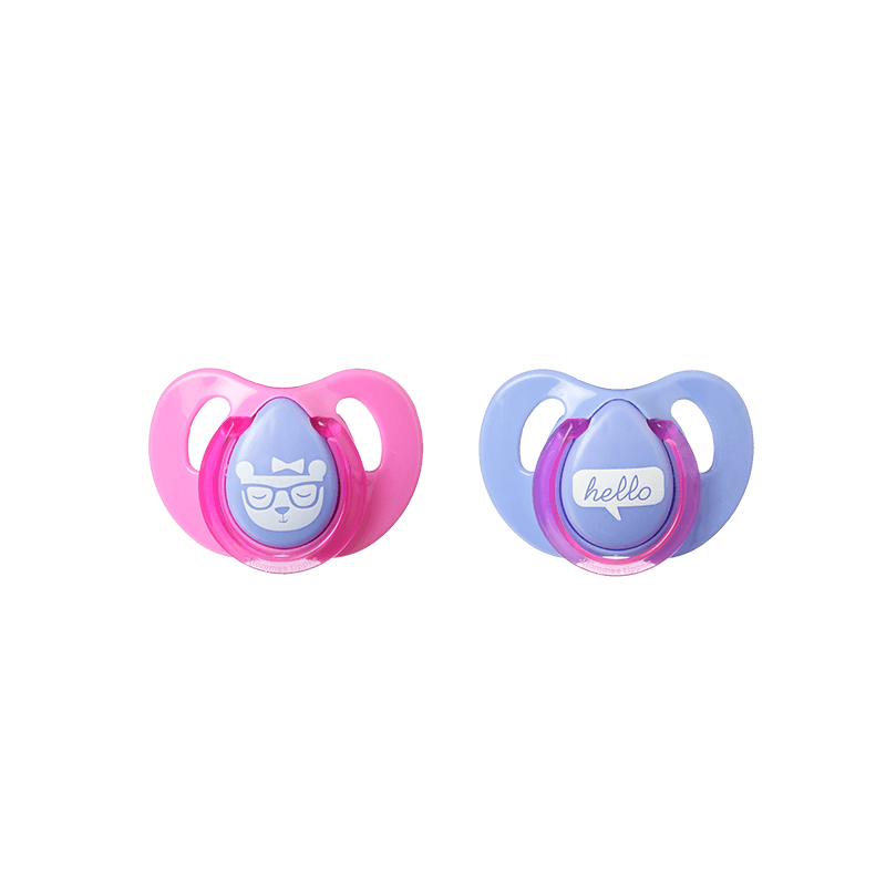 Two pink and blue Tommee Tippee Cherry Soothers