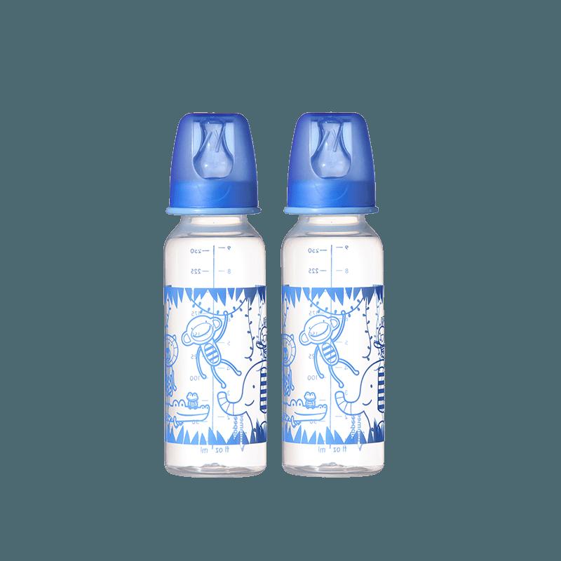 Two monkey design blue essential standard neck bottles