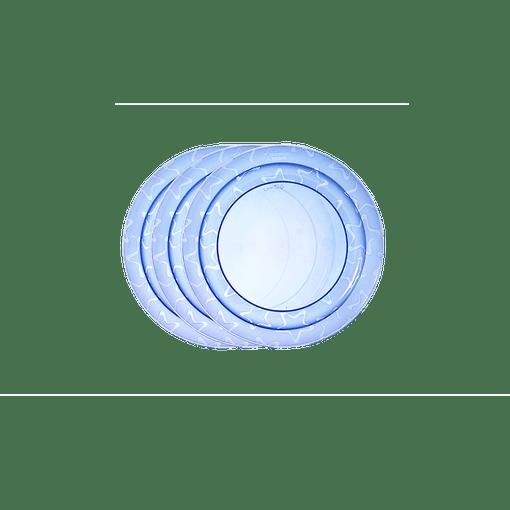 3 x blue essential feeding plates