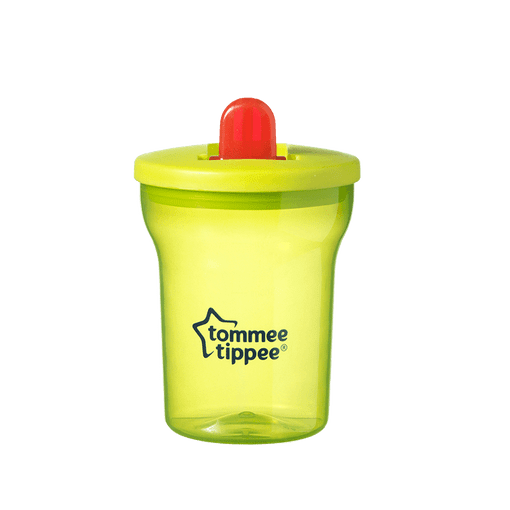 Yellow Essentials Free Flow cup with red straw