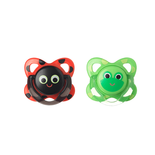 Ladybird and frog funky face soother front on view