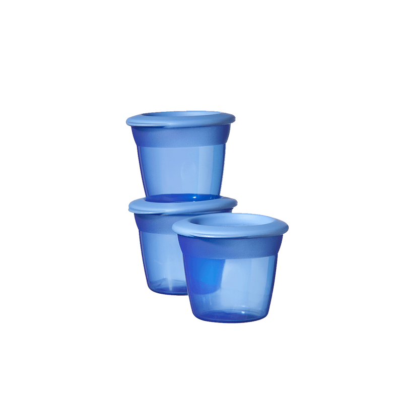 3 blue Tommee Tippee Essential Food Pots