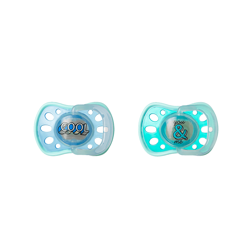 2 x Blue Soft Rim Soothers, with the words 'Cool' and 'You & Me'