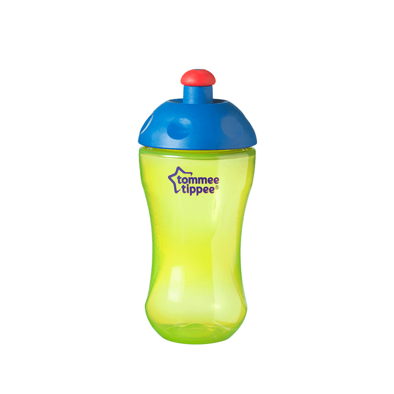 Yellow Essentials Free Flow Sports Bottle with blue top and red lid