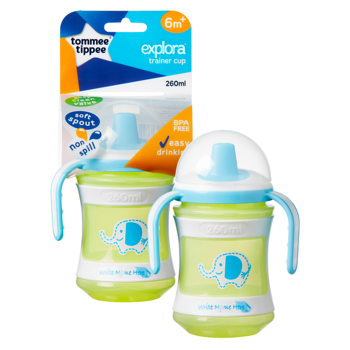 Green and blue Tommee Tippee Explora Training cup in packaging