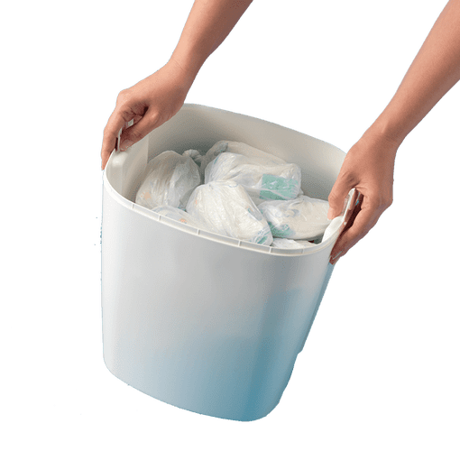 White Sangenic tec nappy bin full of nappies