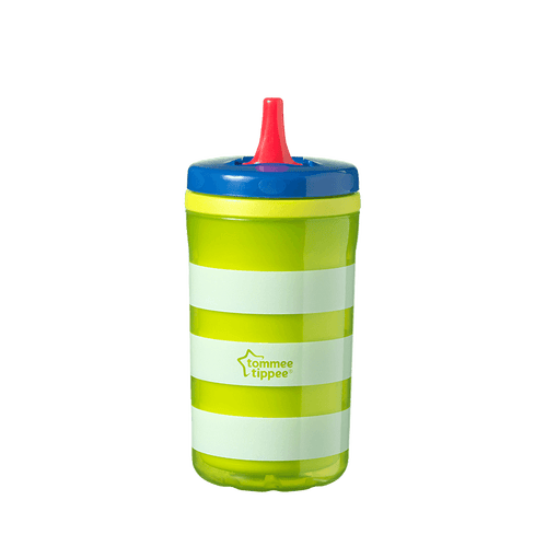 Green stripe Insulating Free Flow bottle with red straw