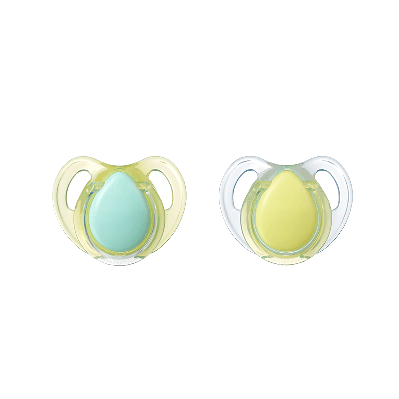 Two yellow and green Tommee Tippee Cherry Soothers