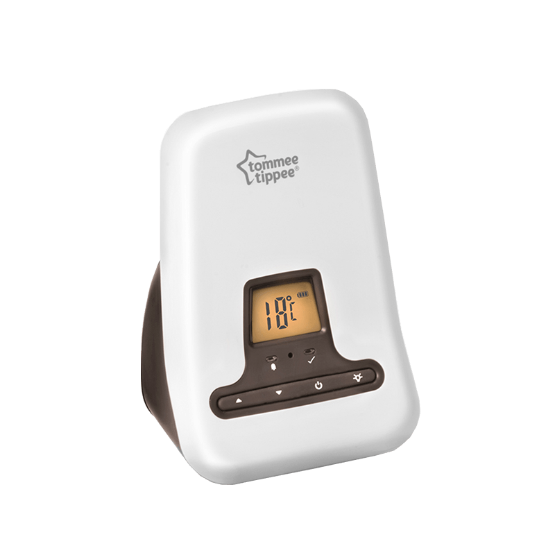 Tommee Tippee digital sound monitor speaker showing yellow screen with temperature controls