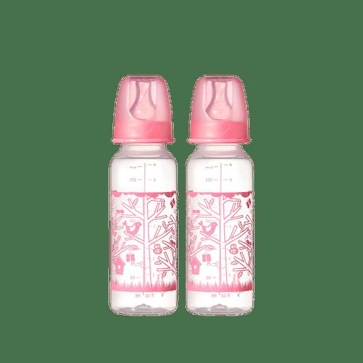 Two pink bird design Tommee Tippee essential standard neck bottles