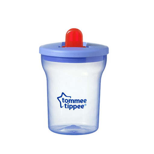 Blue Tommee Tippee Essentials Free Flow cup with red straw
