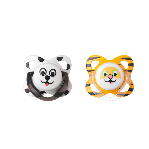 Panda and Lion Funky Face Soothers front on view