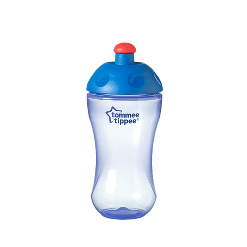 Blue Essentials Free Flow Sports Bottle with blue top and red lid