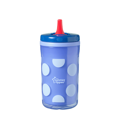 Blue dotty Insulating Free Flow bottle with red straw