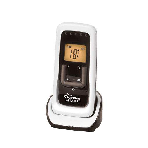 Tommee Tippee digital sound monitor receiver showing yellow screen and temperature controls