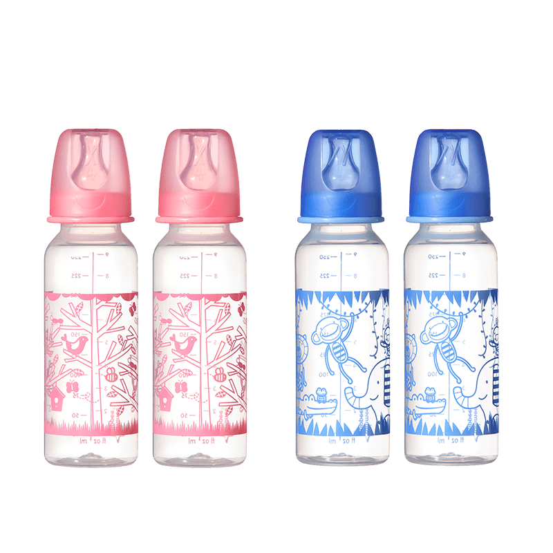Two pink birds and two blue monkey essential neck bottles