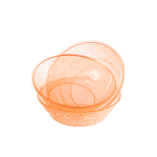 Pack of three orange and stars Tommee Tippee Essential Bowls stacked on top of each other