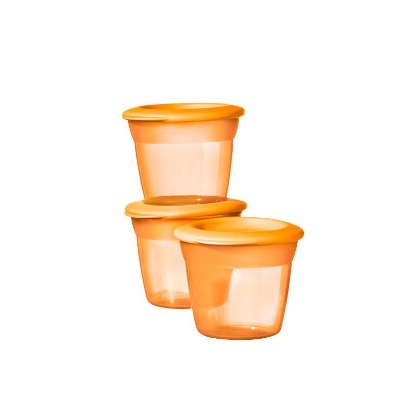 3 Orange Tommee Tippee Essential Food Pots