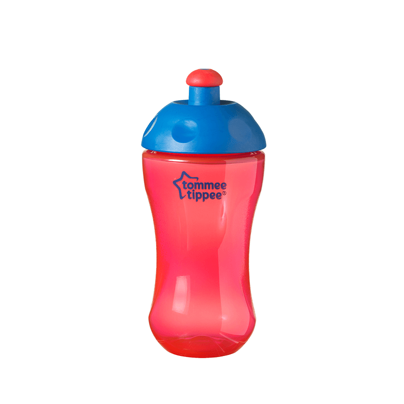 Red Essentials Free Flow Sports Bottle with blue top and red lid