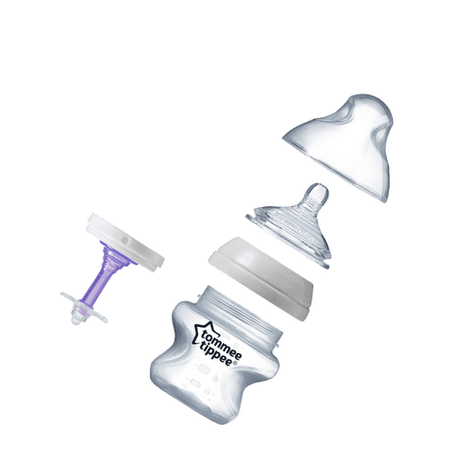 All parts of a 150ml anti colic baby bottle including teat, bottle and purple valve