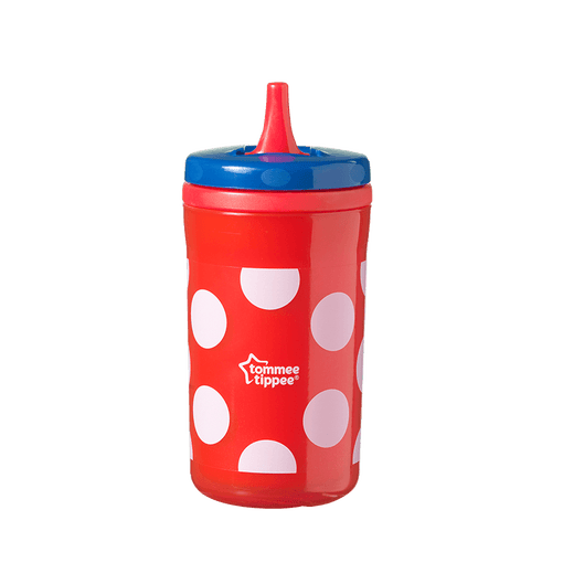 Red dotty Insulating Free Flow bottle with red straw