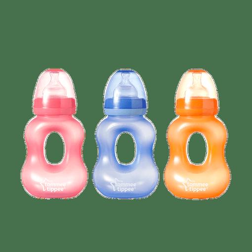 3 x Nipper Gripper bottles in a line, pink, blue, orange