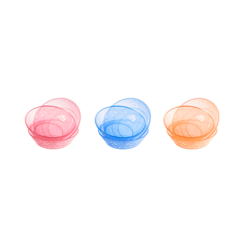 Pink, Blue and Orange star essential bowls stacked on top of each other