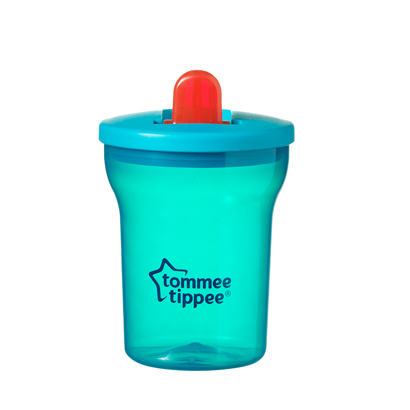Green Tommee Tippee Essentials Free Flow cup with red straw