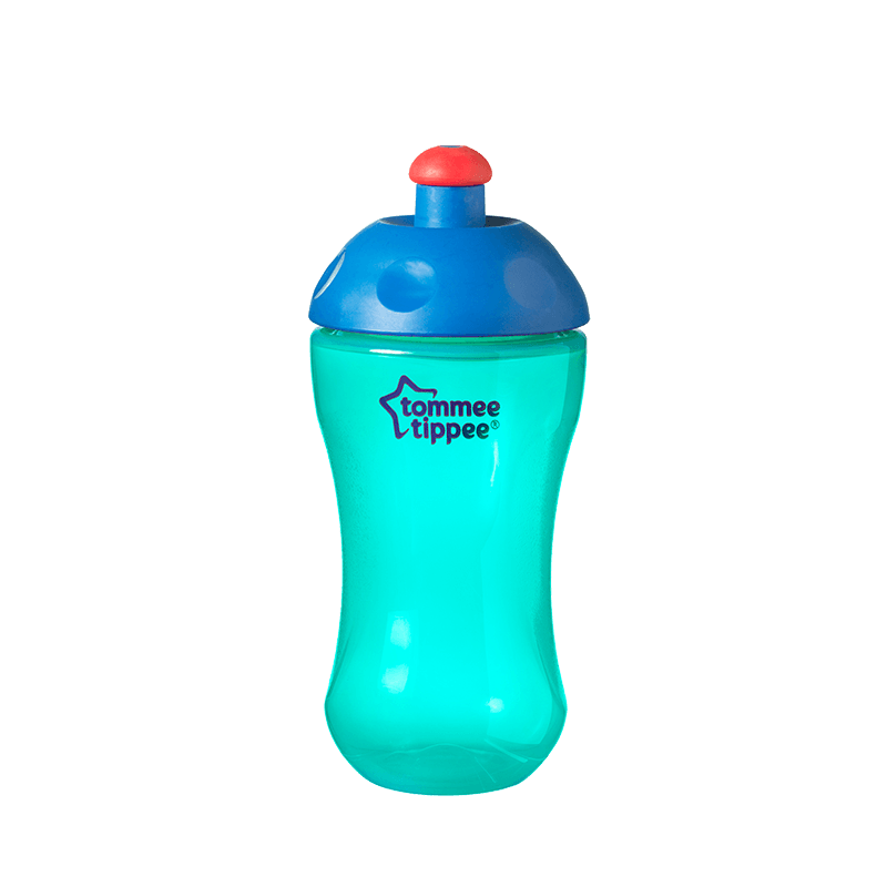 Green Essentials Free Flow Sports Bottle with blue top and red lid