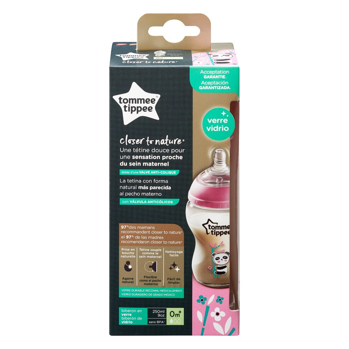 Closer to Nature Glass Baby Bottle 250ml, pink - 1 pack packaging