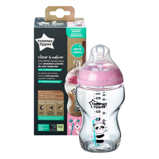 Closer to Nature Glass Baby Bottle 250ml, pink - 1 pack with packaging