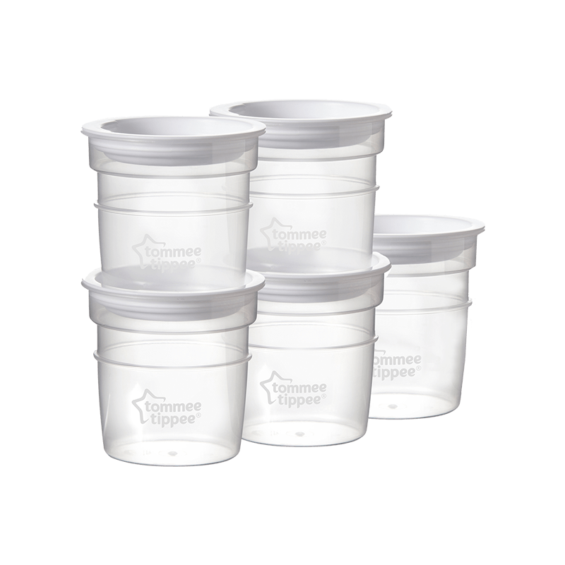 5 x Tommee Tippee Closer to Nature milk storage pots stacked on top of each other