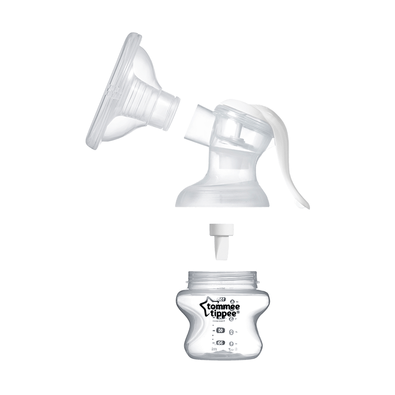 Manual breast pump, adapter and closer to nature bottle