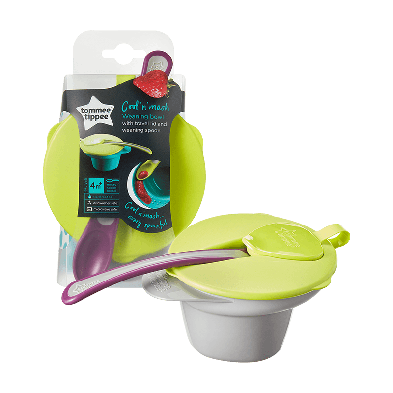 Green cool and Mash Weaning Bowl in Packaging and out of packaging