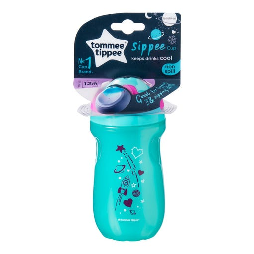 Insulated-sippee-cup-aqua-blue-with-pink-cap-and-rocket-planets-stars-design-in-packaging