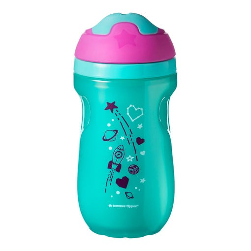 Insulated-sippee-cup-aqua-blue-with-pink-cap-and-rocket-planets-stars-design