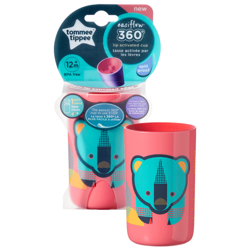 coral-pink-Easiflow-360°-Cup-with-bear-design-with-packaging-shot-in-background