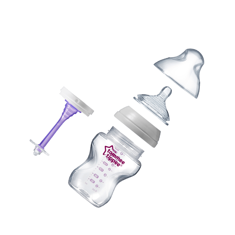 All parts of a 260ml anti colic baby bottle including bottle, teat and purple valve