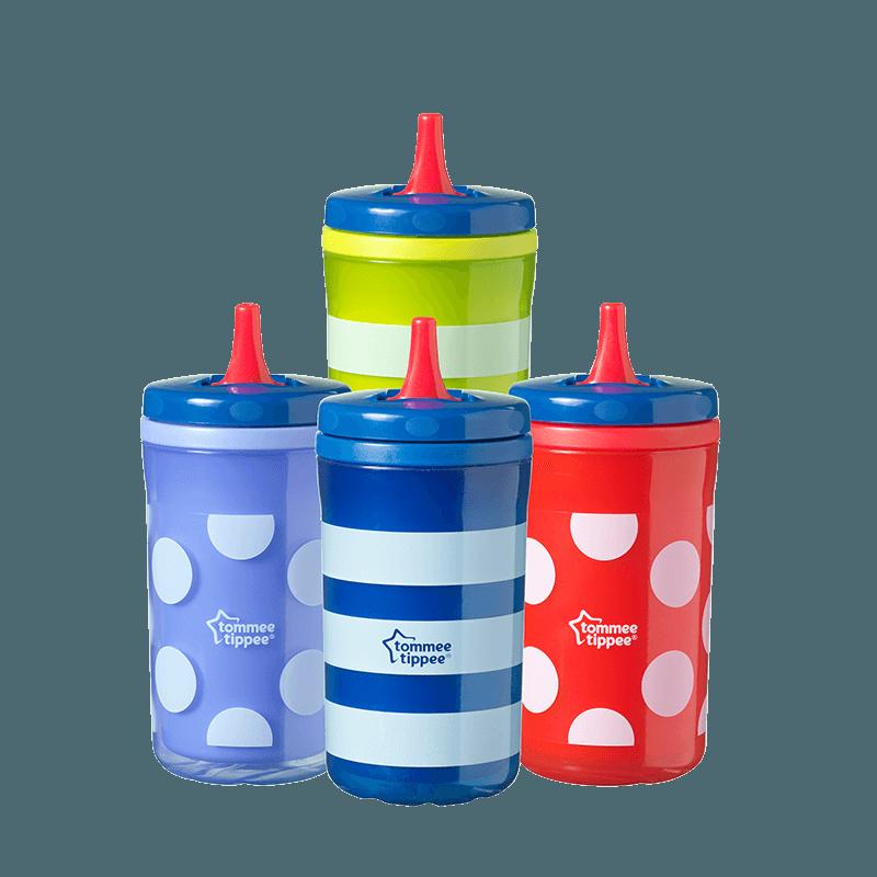 4 Insulating big chill bottles, green stripe, blue dot, red dot and blue stripe