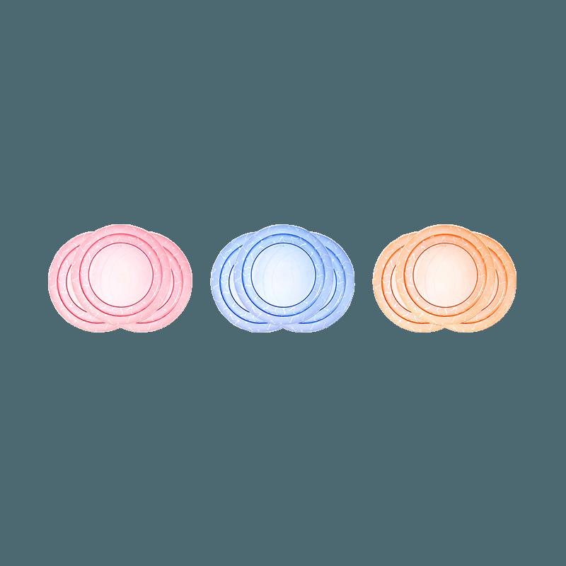3x Pink, 3xBlue and 3xOrange Essential Feeding Plates