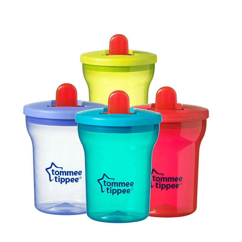 Green, Blue, Red and Yellow Essentials Free Flow Cups with red straws