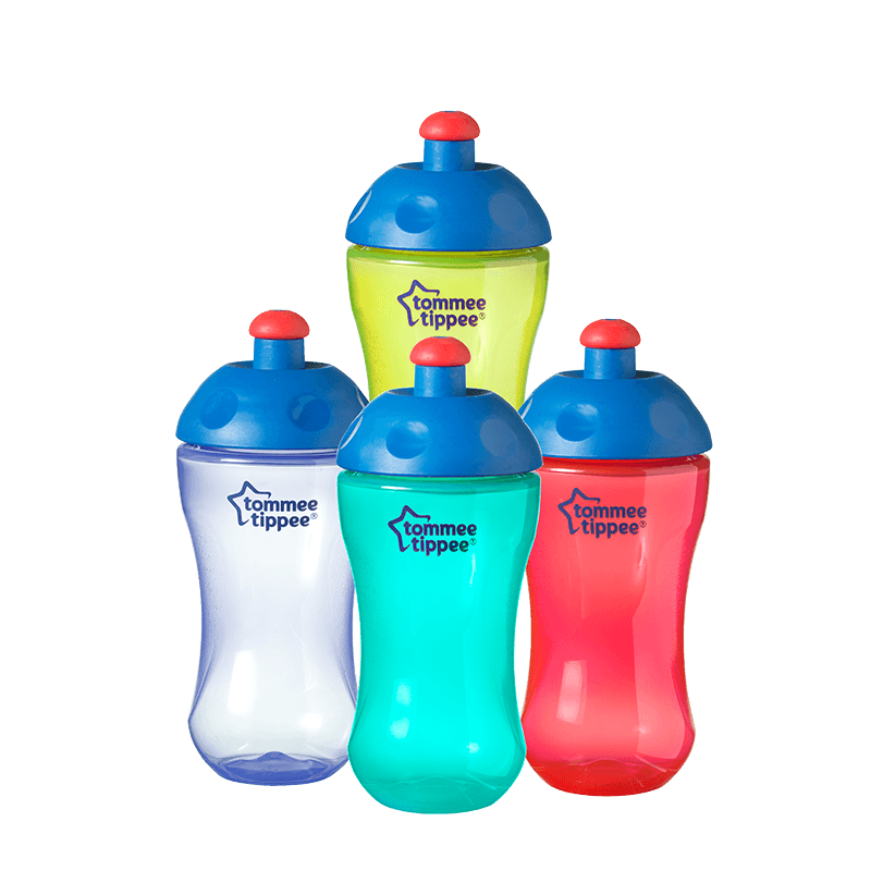 Four Essentials Free Flow Sports Bottles, yellow, blue, red and green with red tops stacked on top of each other