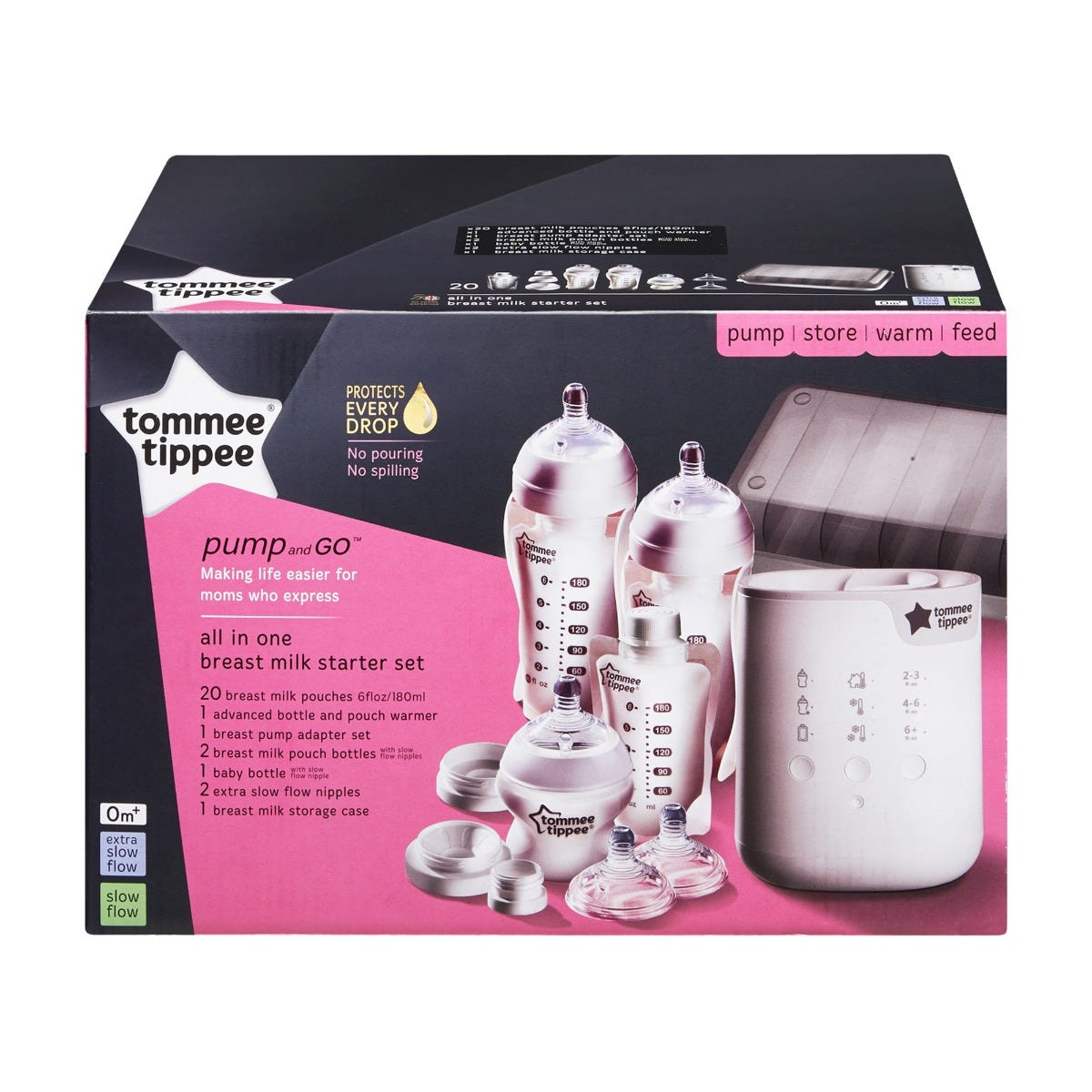 BPA FREE White Tommee Tippee Pump and Go Electric Breast Pump Adapter Set