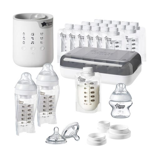 pump-and-go-all-in-one-set-including-bottle-warmer-milk-pouches-pouch-feeding-bottles-closer-to-nature-bottle-and-teats-breast-pump-adapter-set