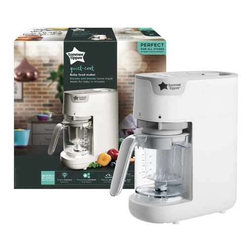 Quick-cook-baby-food-maker-in-white-with-tommee-tippee-logo-and-clear-blender-jug-in-front-of-packaging