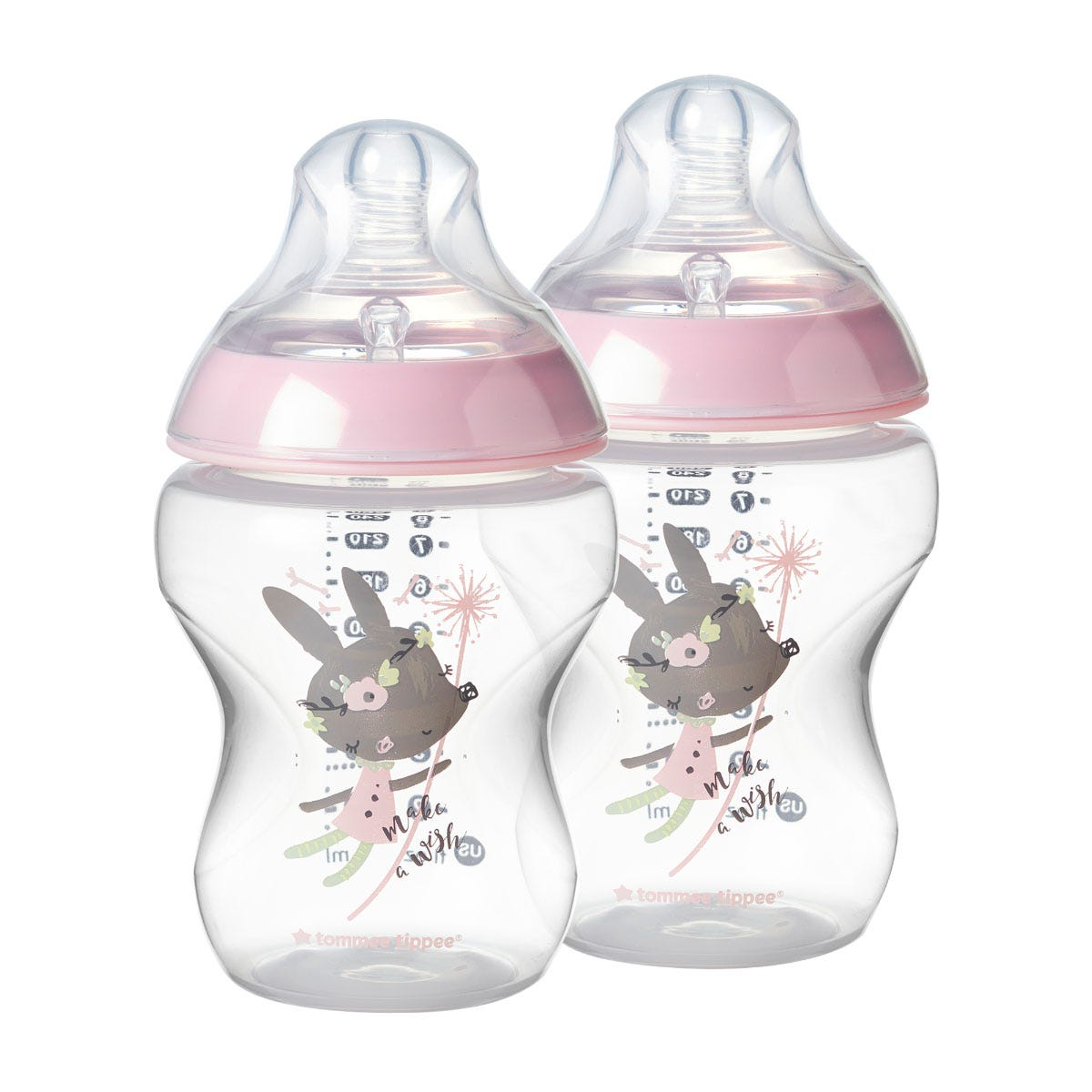 2-clear-closer-to-nature-baby-bottles-with-a-pink-rim-to-secure-the-nipple-and-a-graphic-bunny-design-and-the-words-make-a-wish