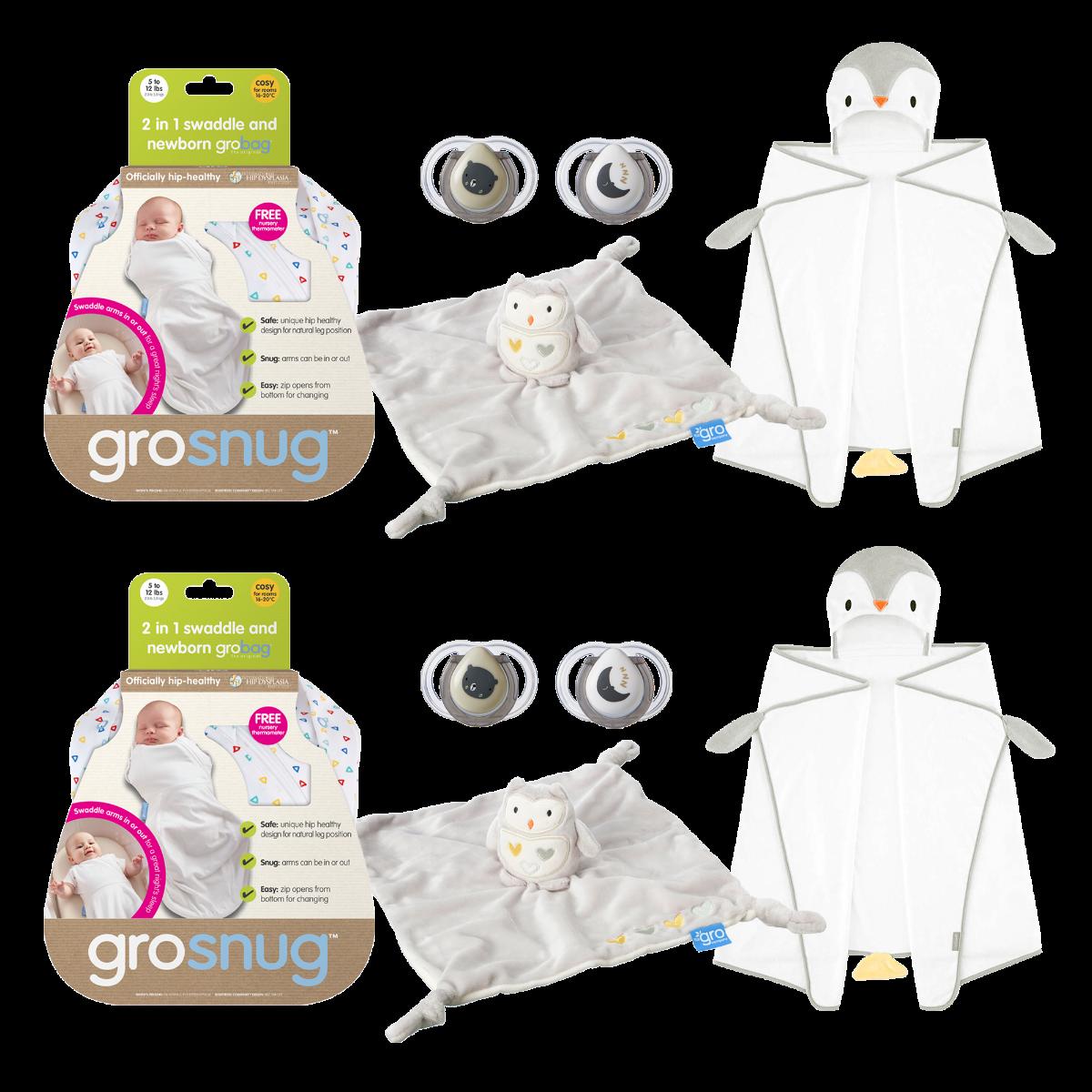0-6 Months The Gro Company Poppy The Penguin Groswaddledry Newborn Swaddle Bath Towel