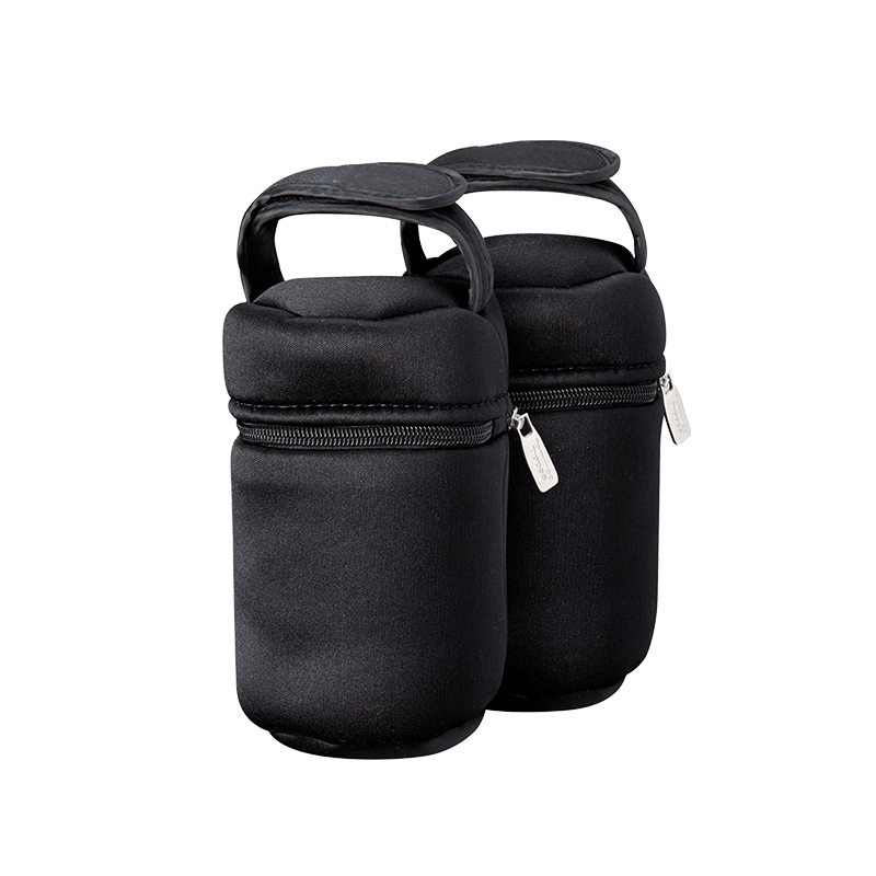 2 x Black Insulated Bottle Bags